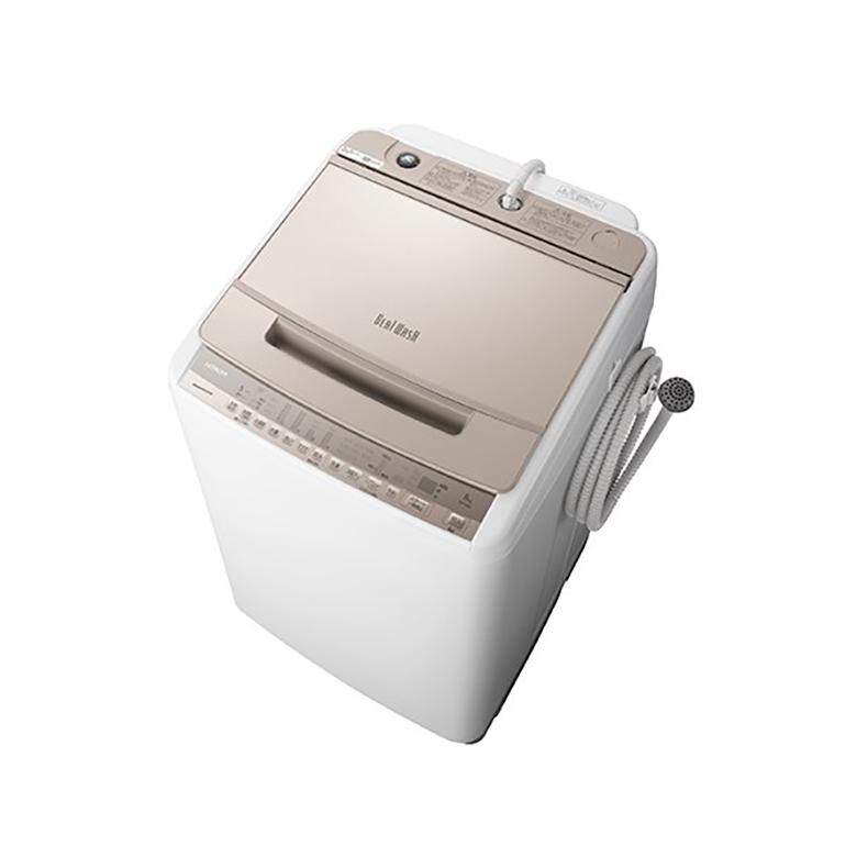 全自動洗濯機 日立 HITACHI BW-V80F-N bw-v80f-n シャンパン 洗濯8kg ビートウォッシュ つけおき ナイアガラ ビート洗浄 洗剤セレクト 新品 送料無料