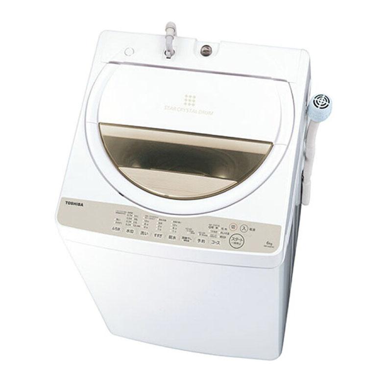 【送料・標準設置費用込】全自動洗濯機 東芝 TOSHIBA AW-6G8 グランホワイト ザブーン ZABOON 洗濯6.0kg