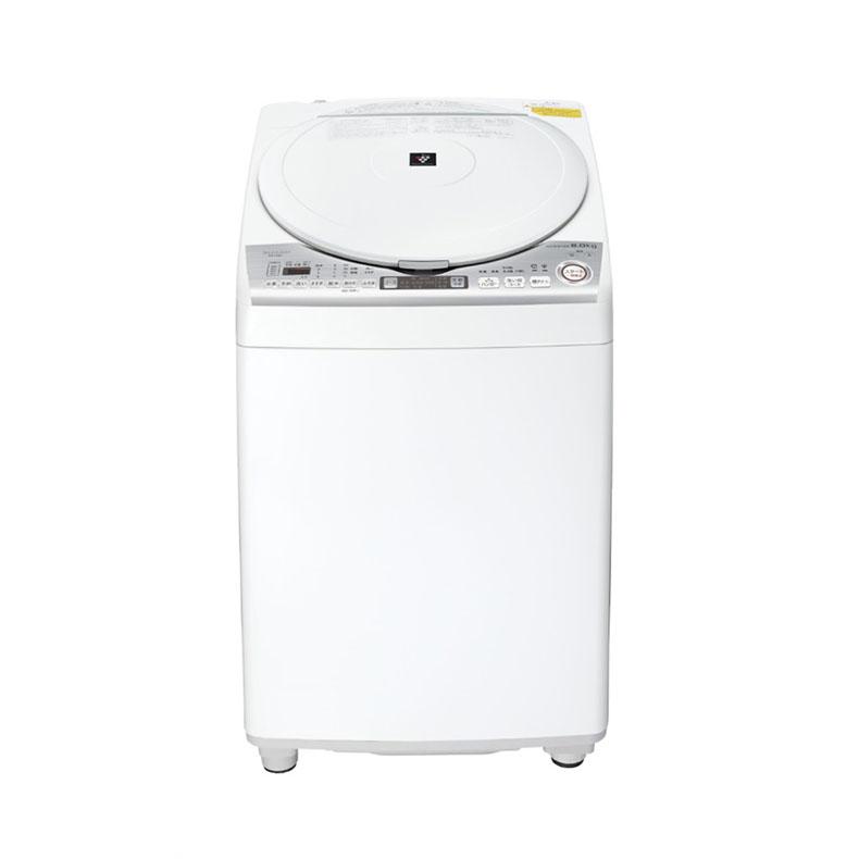 【送料・標準設置費用込】タテ型洗濯乾燥機 シャープ SHARP ES-TX8D ホワイト系 洗濯8kg 乾燥4.5kg 穴なしサイクロン洗浄 温風プラス洗浄ガンコ汚れコース