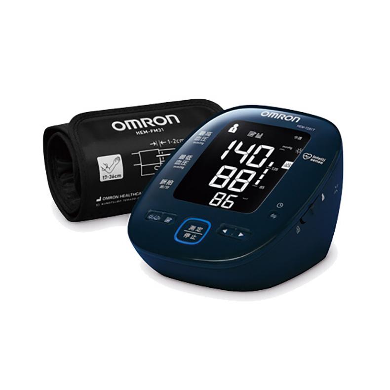 上腕式血圧計 血圧計 オムロン OMRON HEM-7281T hem-7281t ダークネイビー バックライト付き ブラック液晶画面 LED 平均値 早朝高血圧 新品 送料無料