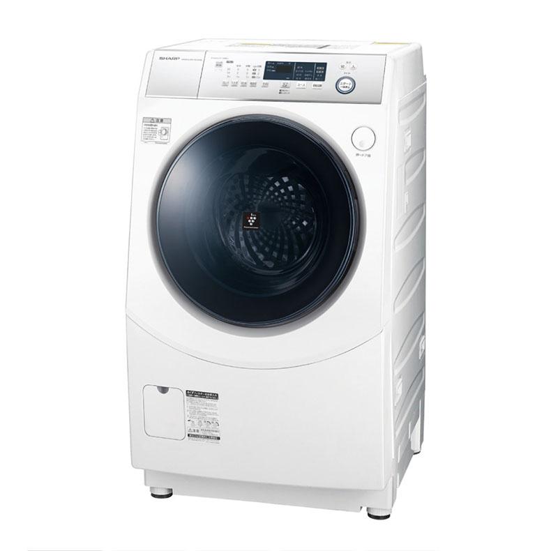 ドラム式洗濯乾燥機 左開き シャープ SHARP ES-H10DWL ホワイト マイクロ高圧洗浄 プラズマクラスター 極め洗いコース ホームクリーニングコース