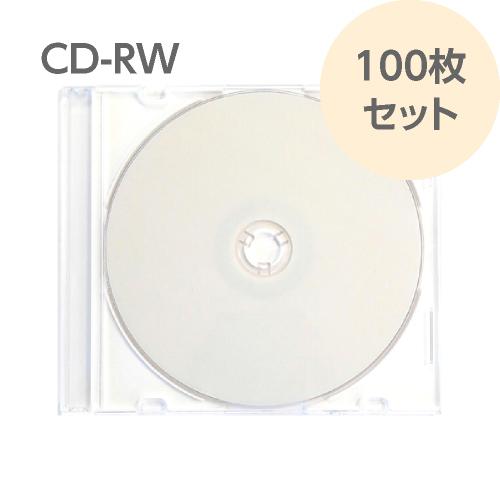 CD-RW 100枚セット データ用 繰り返し記録用 スリムケース入り パッケージ無しバルク品 700MB 4~10倍速対応 RiTEK