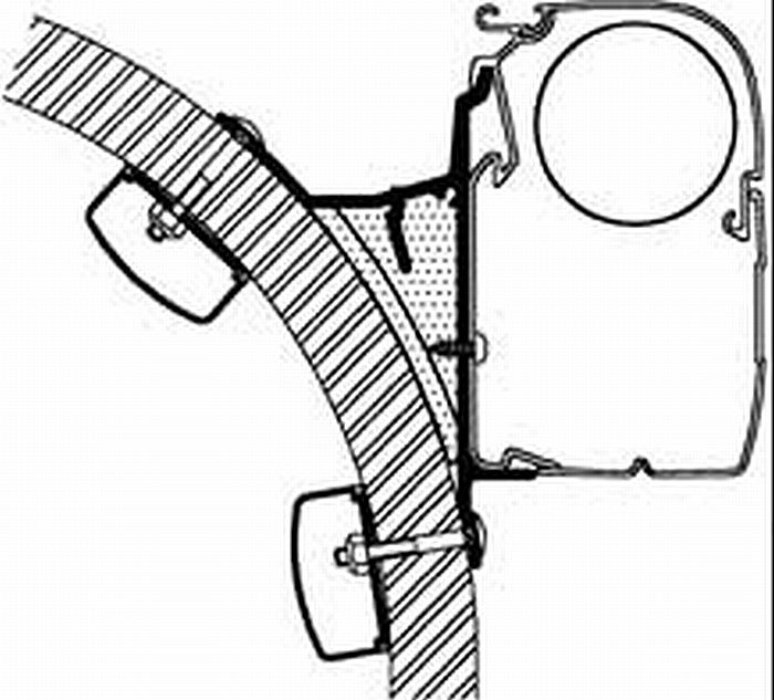 THULEスーリー製オムニスターサイドオーニング取付用金具【HYMER S アダプター4枚1セット】 ●代引後払注文不可