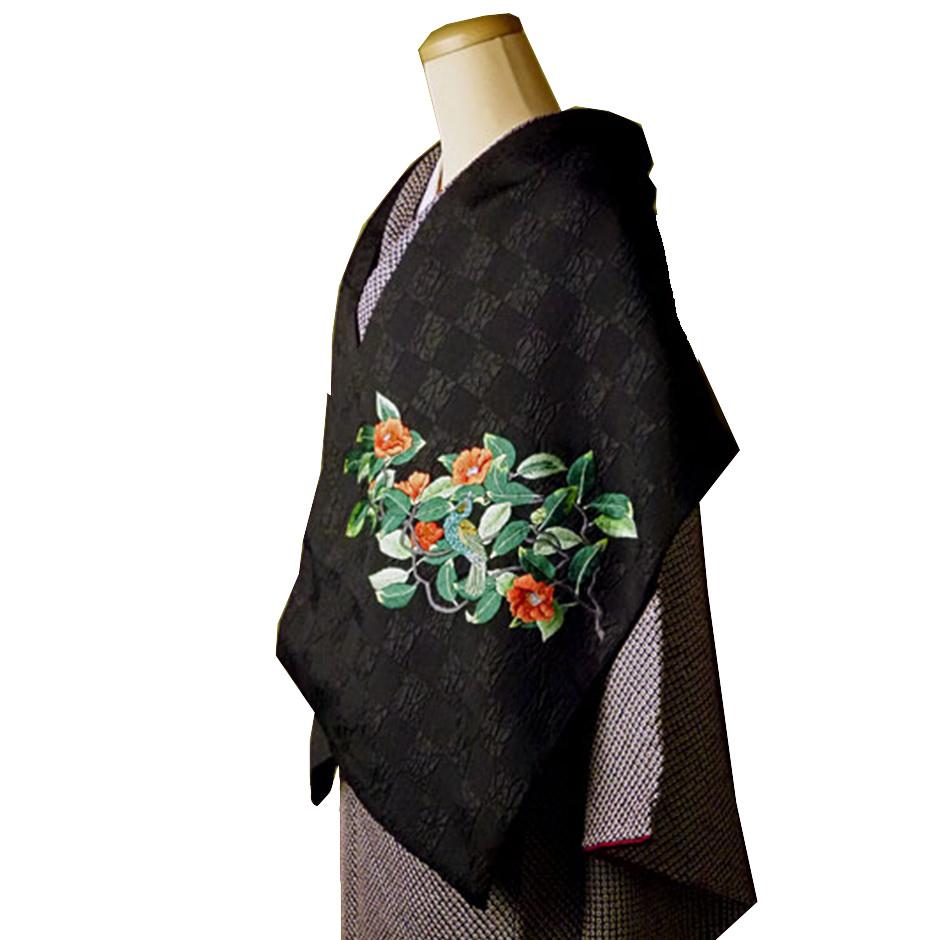 手刺繍 ショール シルク100% 山椿と鵯(黒×黒)