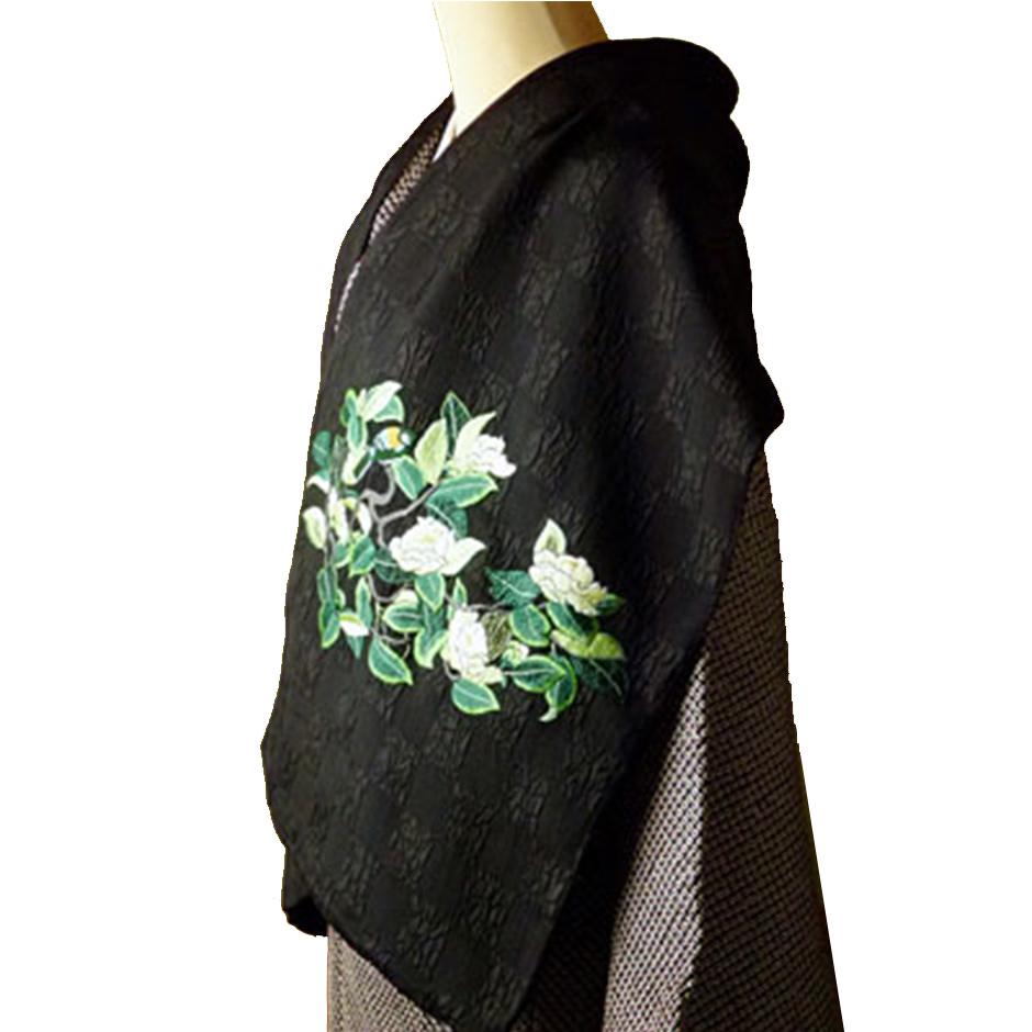 手刺繍 ショール シルク100% 白椿と四十雀(黒×黒)
