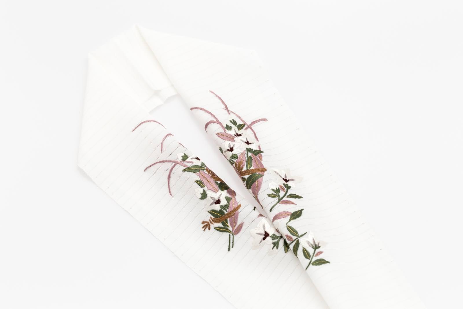 手刺繍 半襟 パールトーン加工済  シルク100% 絽 塩瀬 手刺繍 半衿   夏用 白 桔梗
