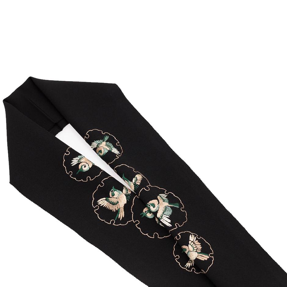手刺繍 半襟 パールトーン加工済 シルク100% 塩瀬 手刺繍 半衿 黒 福良雀