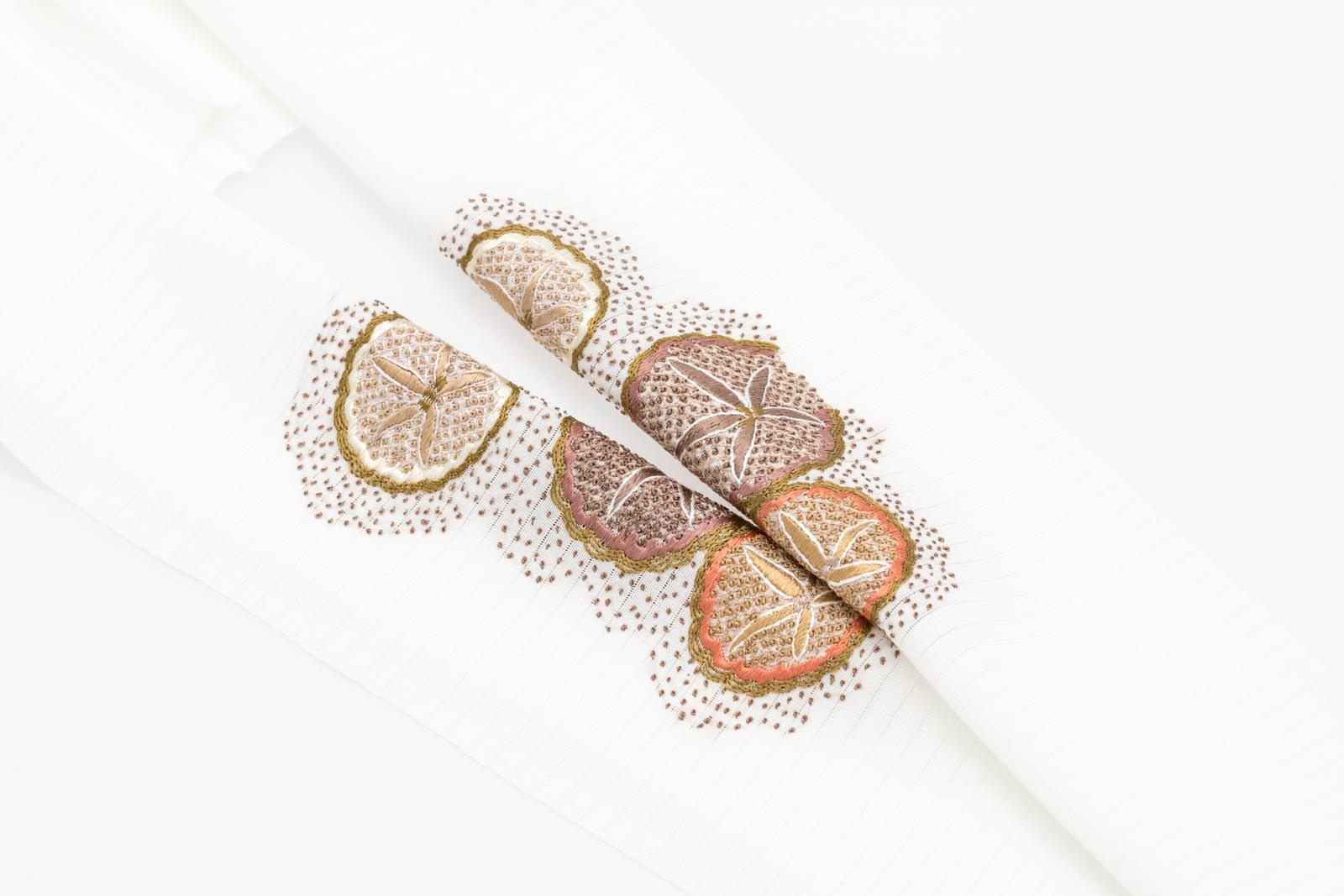 夏 半襟 シルク100% 手刺繍 半衿 パールトーン加工済 絽 塩瀬 白 朝顔