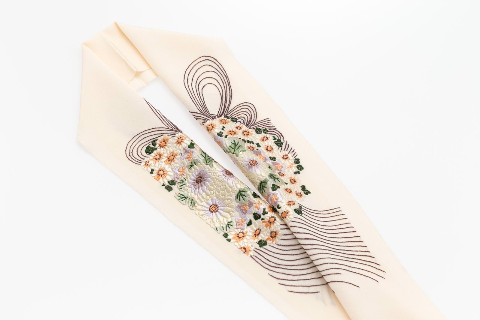 手刺繍 半襟 パールトーン加工済 シルク100% 塩瀬 手刺繍 半衿 鳥の子色 むすび
