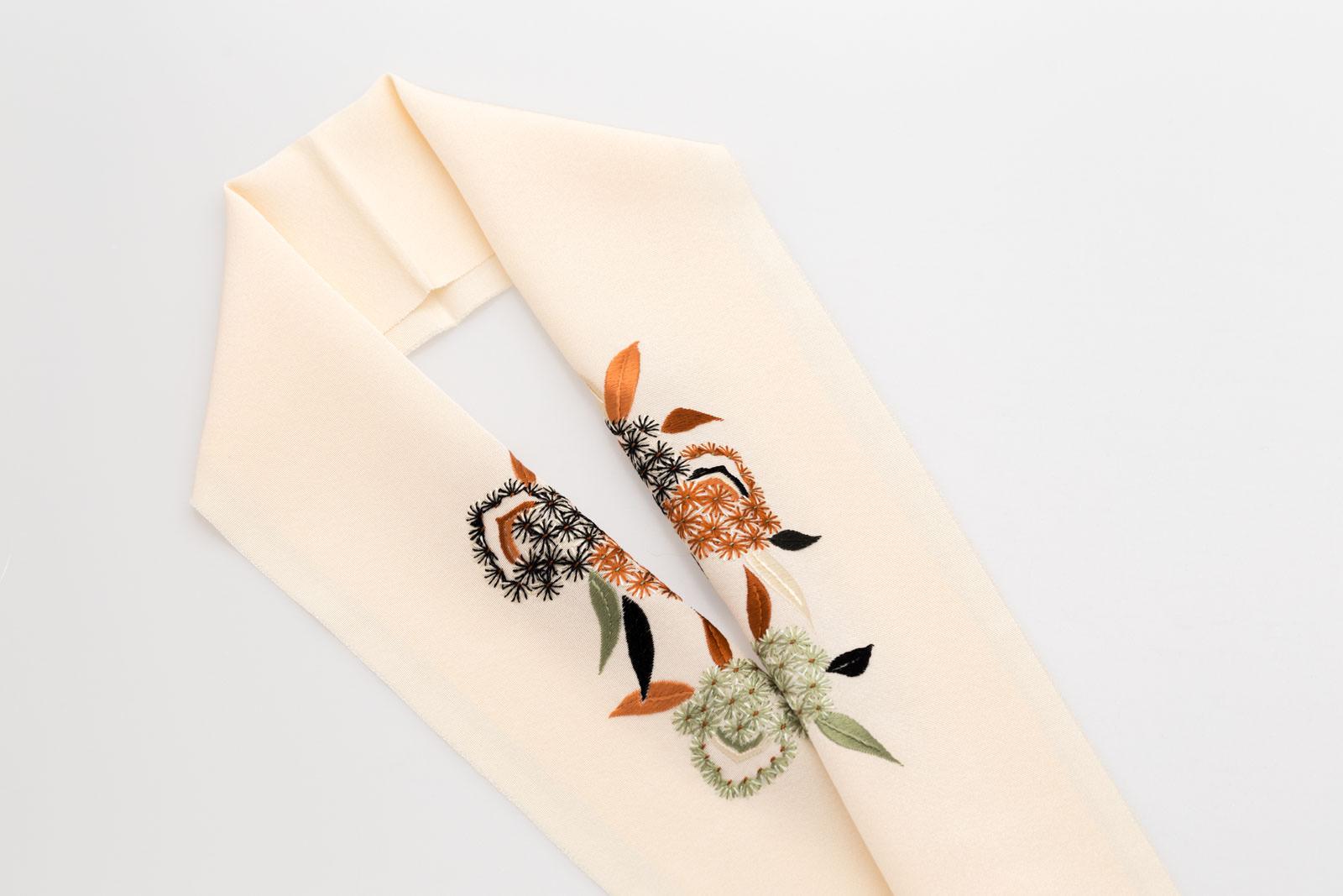 手刺繍 半襟 パールトーン加工済 シルク100% 塩瀬 手刺繍 半衿 鳥の子色 毬栗