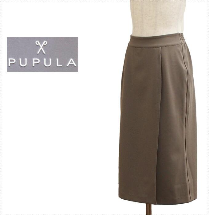 PUPULA ププラ  30代 ファッション レディース 体型カバー ミモレ丈巻きスカート (レディース/ジャケット/カットソー/長袖/トップス/通販/)