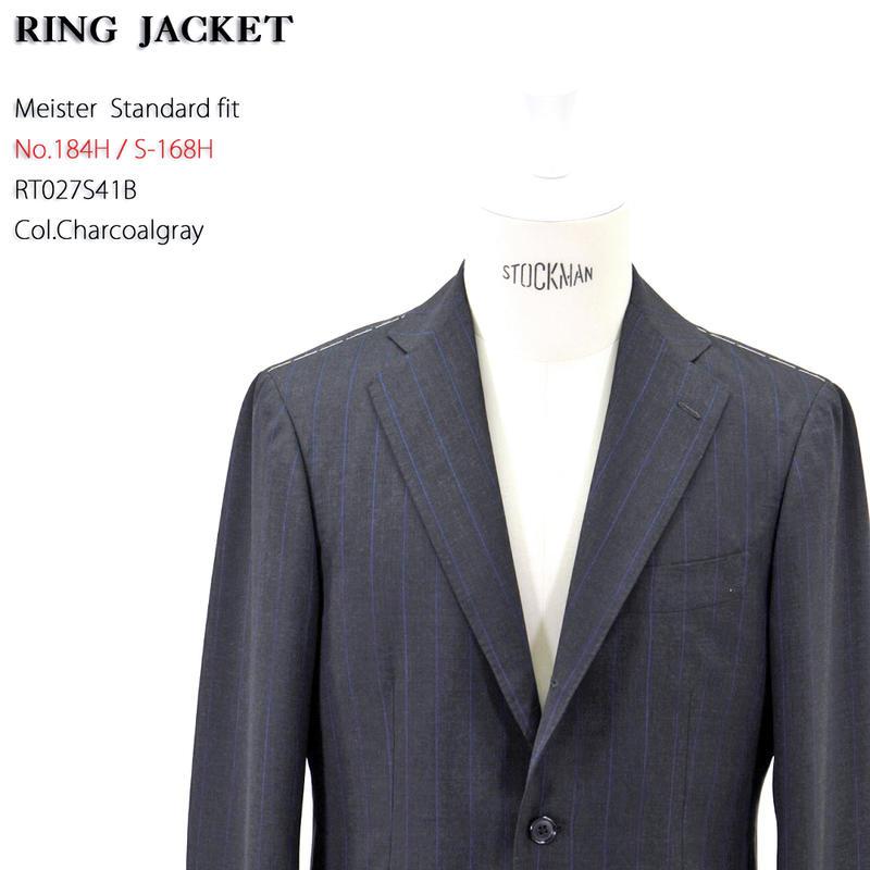RING JACKET(リングヂャケット)Model No-184H S-168HCARLO BARBERAピンストライプ3Bスーツ【チャコールグレー】