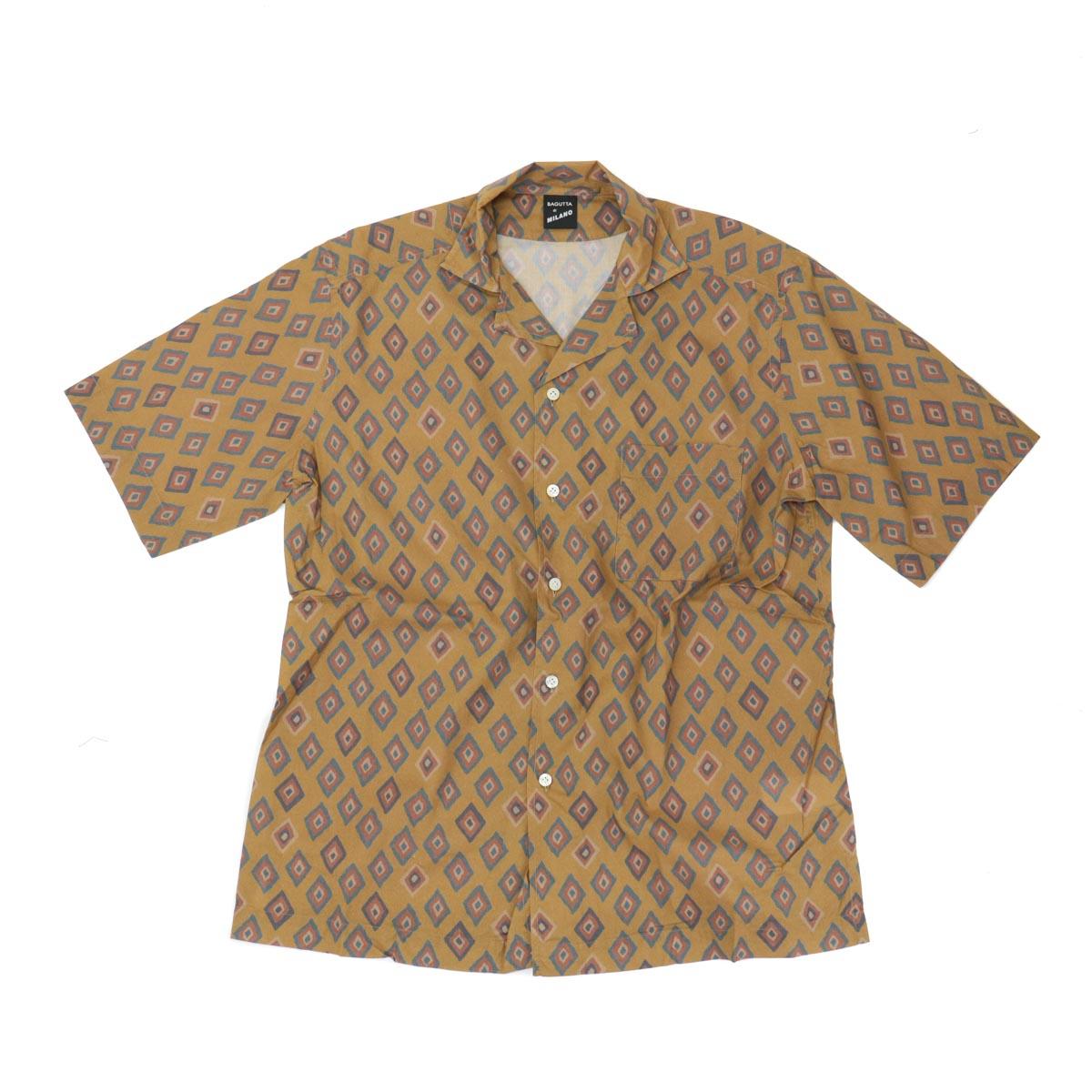 BAGUTTA バグッタオープンカラーシャツ[ブラウン]