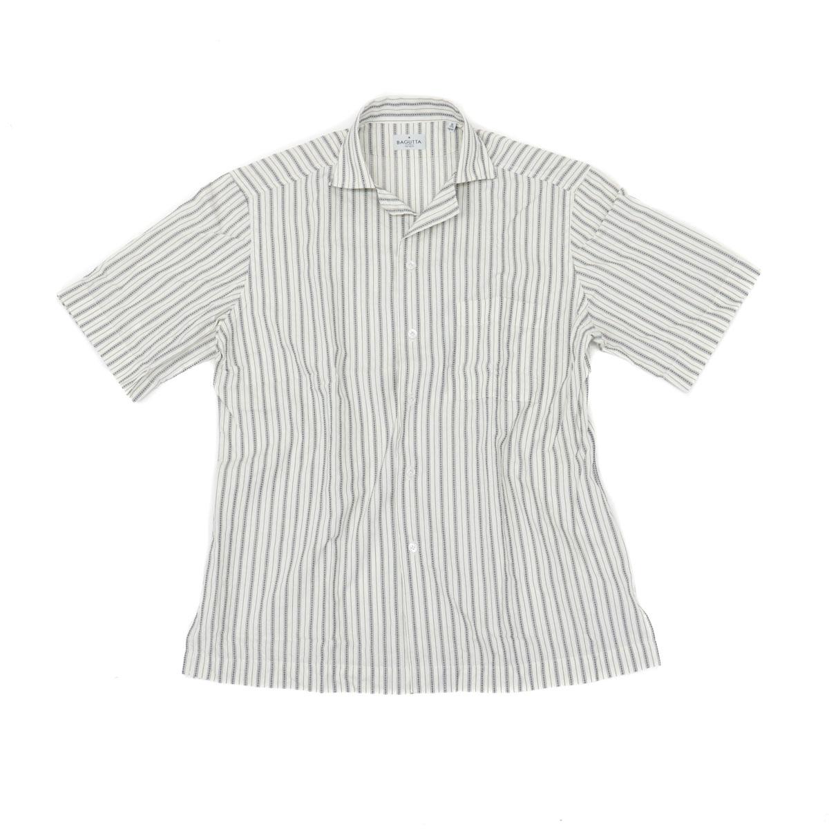BAGUTTA バグッタオープンカラーシャツ[ストライプ/ホワイト]