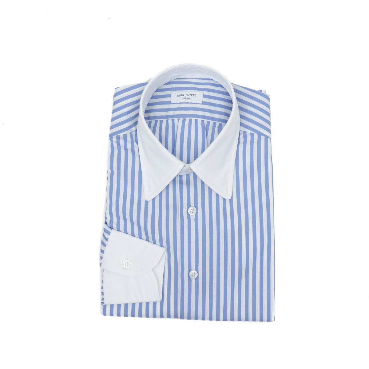 RING JACKET JACKET Napoli【リングヂャケット ナポリ ブルー】】Shirts【シャツ/】ラウンドカラー【ストライプ/ ブルー】, 教育と健康の店フォレスト:c2ee75b8 --- djcivil.org