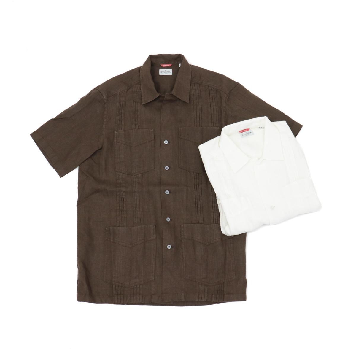BAGUTTA バグッタキューバシャツ[ブラウン・ホワイト]
