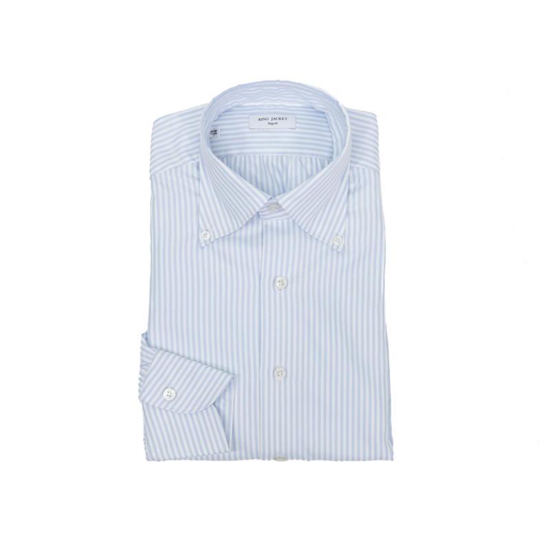 RING JACKET Napoli【リングヂャケット ナポリ】Shirts【シャツ】ボタンダウンカラー【ストライプ / サックスブルー】