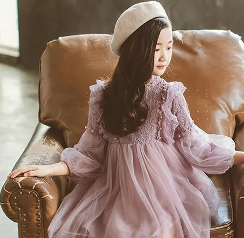華やかなフィットフレアーシルエットのワンピースは 花柄刺繍を施したチュールレースを重ねて魅力的な一枚に きれいめ ボタニカル刺繍 チュールスリーブ Aライン上品 フォーマルドレス 子供服 ドレス レースワンピース 女の子 フレアワンピース フォーマルワンピース パープル 紫 七五三 公式 キッズ 花柄 ジュニア 刺繍 お呼ばれ対応》100110120130140 長袖ワンピース《結婚式 パール チュールドレス ファッション通販 ラベンダー 発表会ドレス