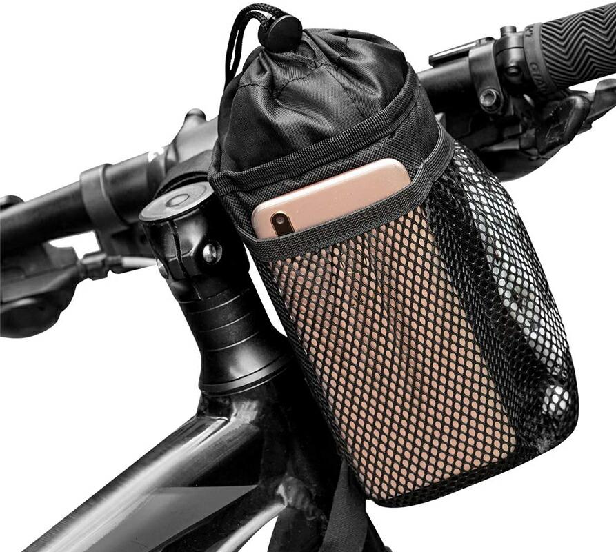 自転車用ボトルケージ ハンドルバーバッグ 携帯収納付きメッシュポケット付き 自由調節可能 ウォーカー/クルーザー/エクササイズ/マウンテンバイク用のハンドルバードリンク/飲料容器に適用