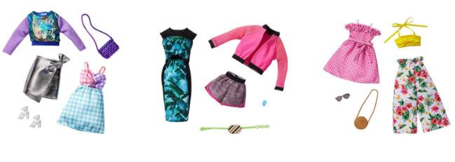 お買得セット まとめ バービー ファッション2パック Barbie 毎日がバーゲンセール セット グリーン 着せ替え人形用ドレス パステル シルバー ピンク 年末年始大決算 フラワー アクセサリー GHX62.63.64