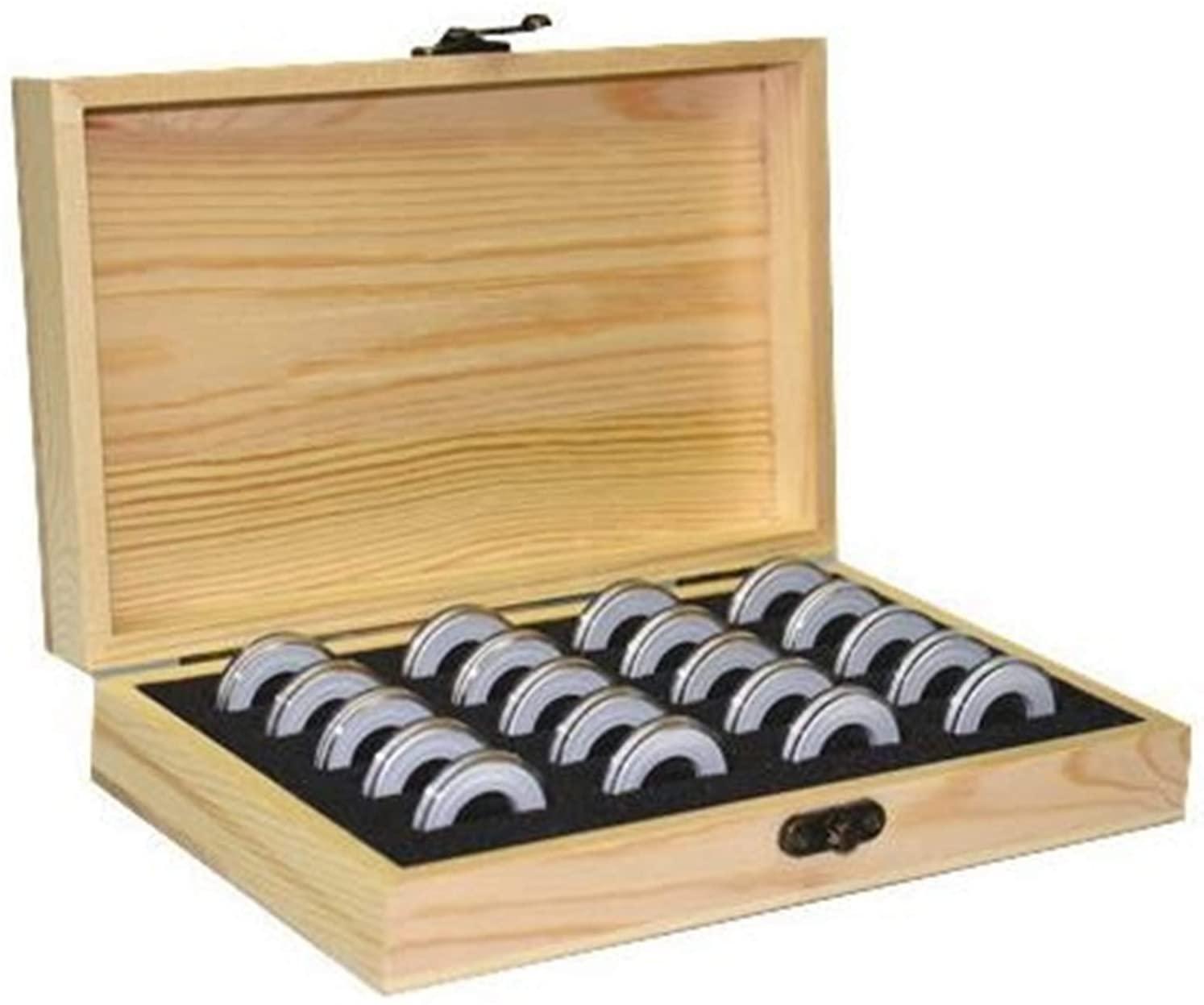 人気商品 木製 コイン コレクション ケース 径5種対応 当店限定販売 記念 硬貨 コインカプセル付き ボックス 店舗 収納 20枚