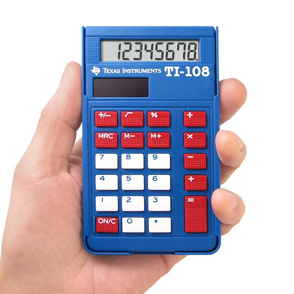 1980年代より生産されるTexas Instrumentsのミニ カリキュレーター テキサス インスツルメンツ 8桁 ポケット電卓 TI-108 ロングセラー定番品