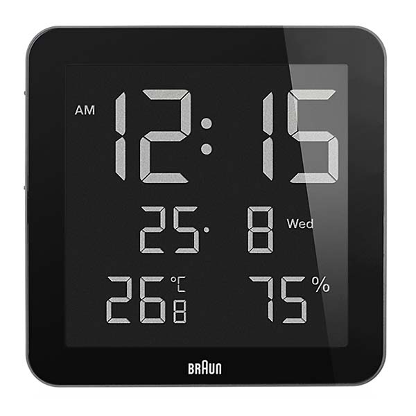 BRAUN 【ブラウン】BNC014 マルチ ウォールクロック (カレンダー 温度 湿度計)
