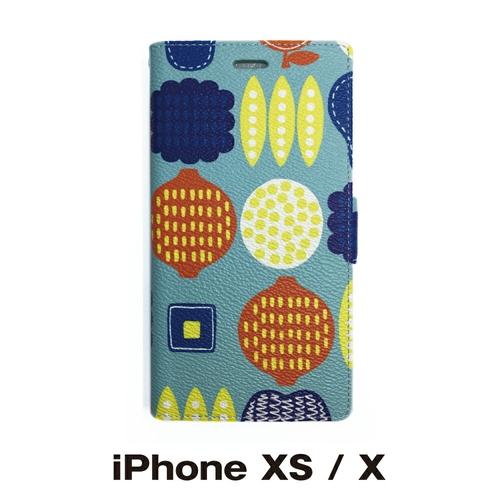 北欧 宅送 イラスト シンプル オリジナル スマホケース アイフォン iPhone PUレザー 手帳型 フリップタイプ アウトレット☆送料無料 対応 XS X フルーツ:ライトブルー