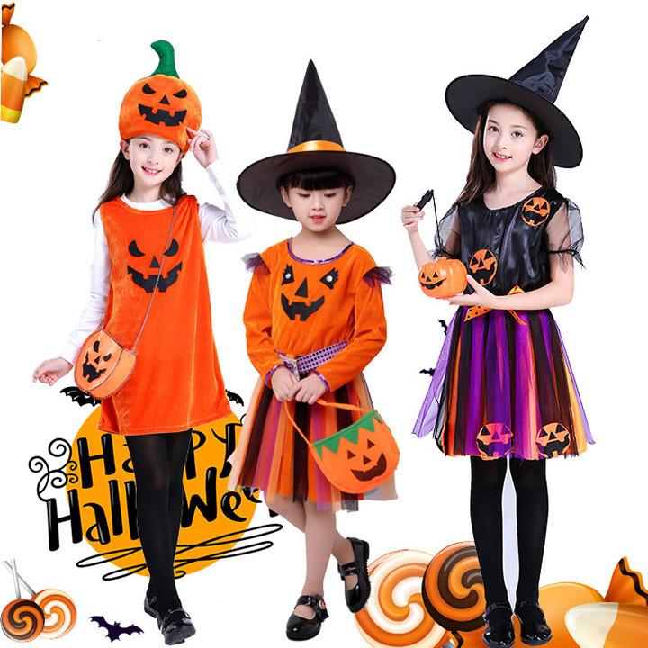 ハロウィン 衣装 子供 おすすめ特集 かぼちゃ 時間指定不可 可愛い キッズ 女の子 ベビー ドレス 魔女 コスチューム ウィッチ コスプレ こども パーティーグッズ イベント用品 巫女 変装 デビル パンプキン 仮装 魔法使い ベビー服