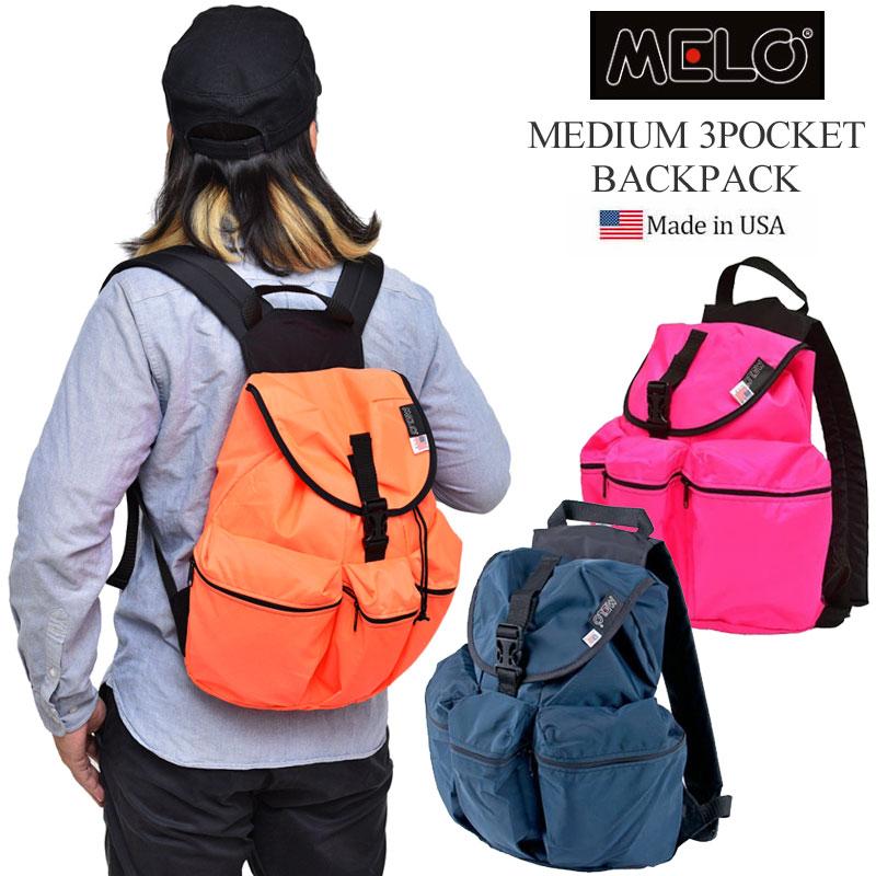 【正規取扱店】メロ リュック ミディアム 3ポケットバックパック[全5色](WA21 12-0004)MELO MEDIUM 3POCKET BACKPACK メンズ レディース【鞄】 1806ripe