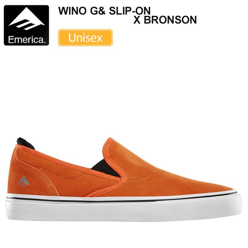 【正規取扱店】エメリカ スニーカー EMERICA ワイノ G6 スリッポン×ブロンソン(オレンジ)(23-28cm)WINO G6 SLIP-ON×BRONSON メンズ レディース【靴】 snk 1911ripe