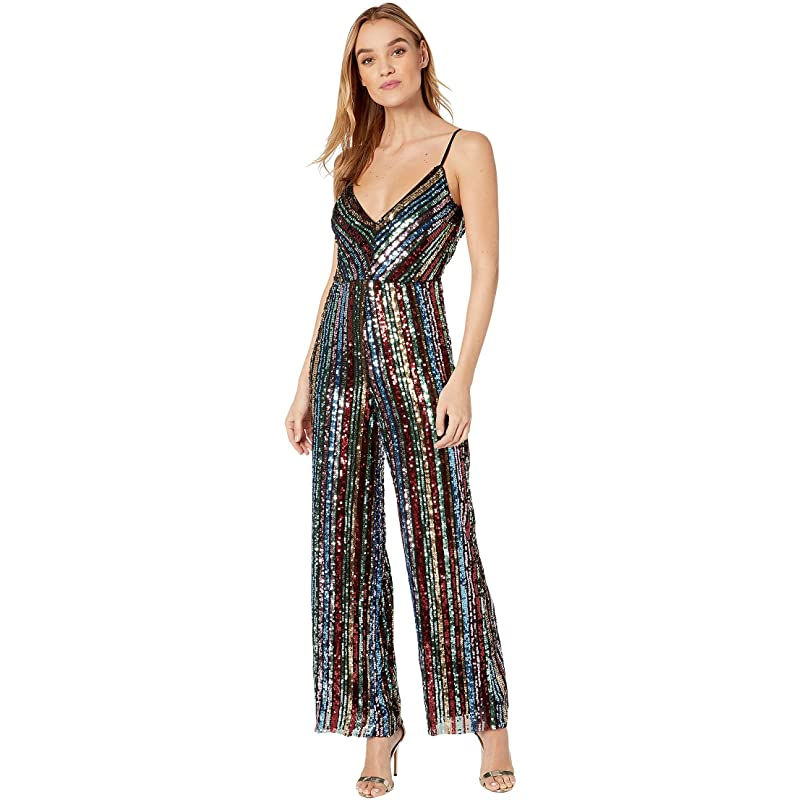 <title>ビビ bebe Jumpsuits Rompers {ギフトラッピング} レディース ジャンプスーツ ロンパース 気質アップ つなぎ オールインワン Back Cowl Neck Sequence Jumpsuit</title>
