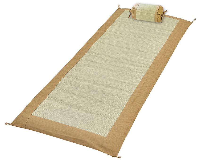 【純国産】ごろ寝マットレス&枕セット ベージュ マットレス:約60×165cm 枕:約24×17×7~13cm 日本製 い草 天然素材 マットレス ごろ寝
