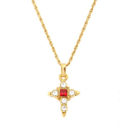 1928ジュエリー レッドクリスタル クロスペンダント 十字架 アンティーク調 ヴィンテージ調 ゴスペル 教会アイテム