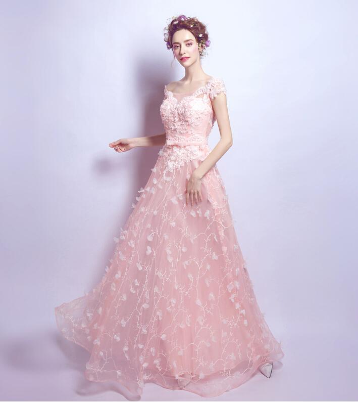 a39184a96553c ... 披露宴 結婚式 刺繍 . 櫻ピンク 発表会  花嫁♪DORES-042 ドレス カラードレス 花びら 刺繍