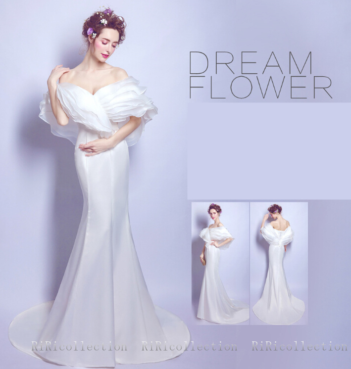 riricollection wedding dress colored racesless white colored