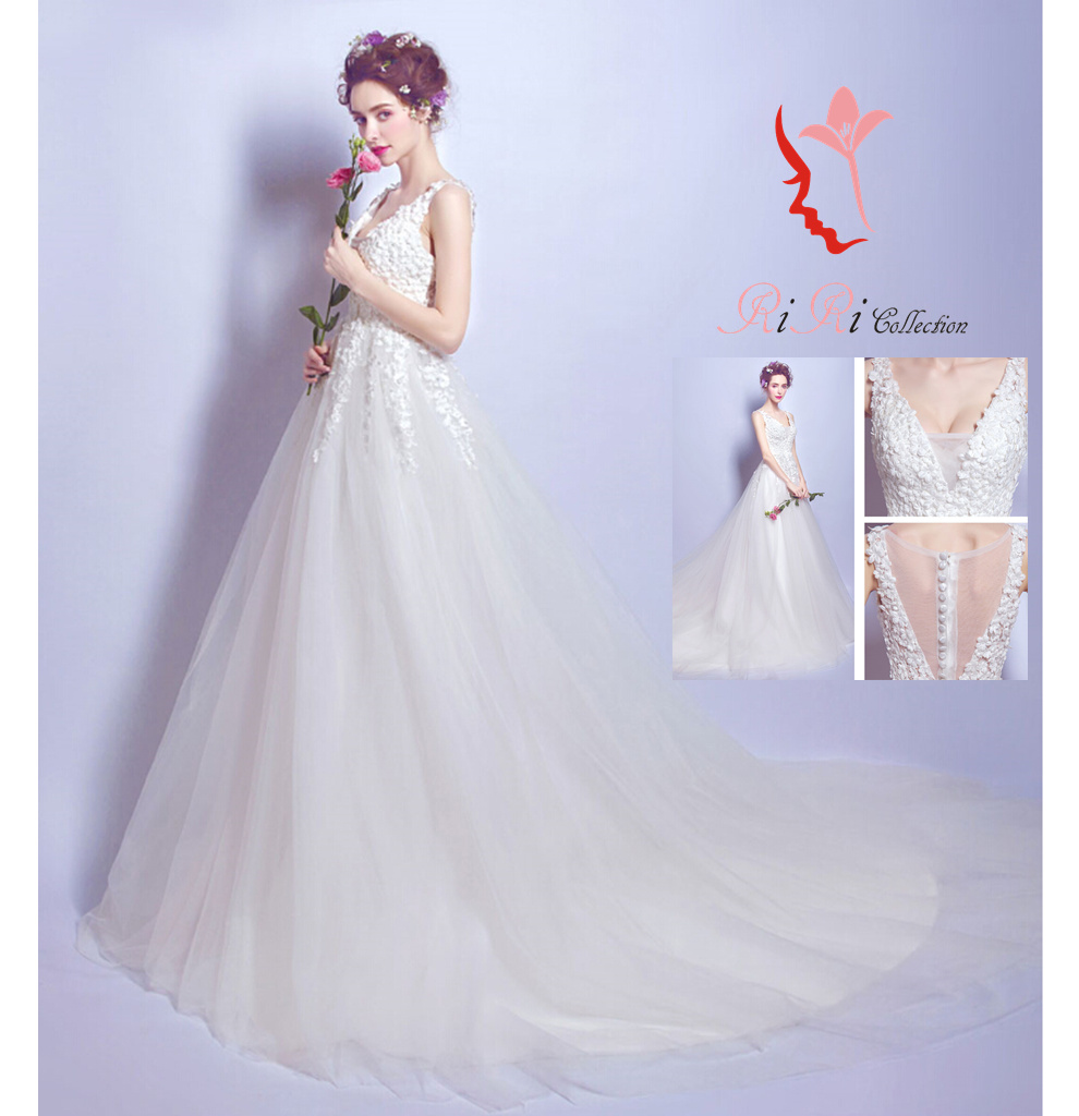 11e144557 B product wedding dress flower flower sexy dress colored racesless wedding  ceremony banquet embroidery / princess ...