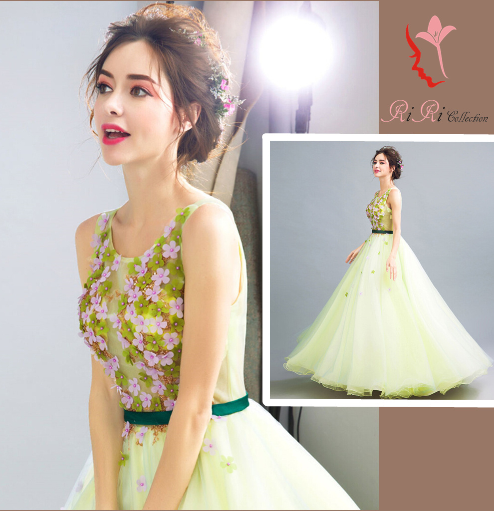 Riricollection Refined Green Dress Floral Design Wedding Ceremony Minidress Banquet Embroidery Princess Line Second Party Bustier Maternity