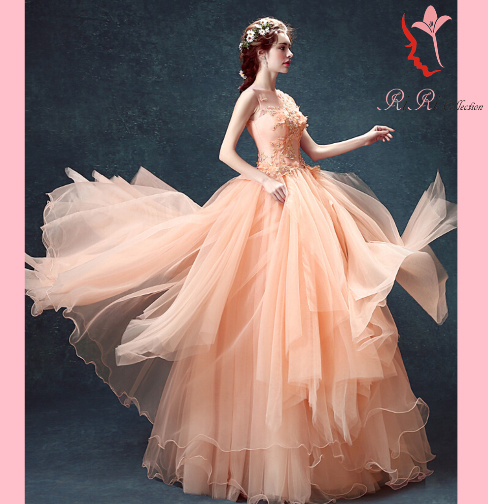 Salmon Pink Flower Dress Wedding Ceremony Banquet Embroidery Princess Line Minidress Second Party