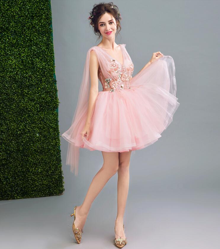 Wedding Dress Ceremony Banquet Embroidery Princess Line Minidress Second Party