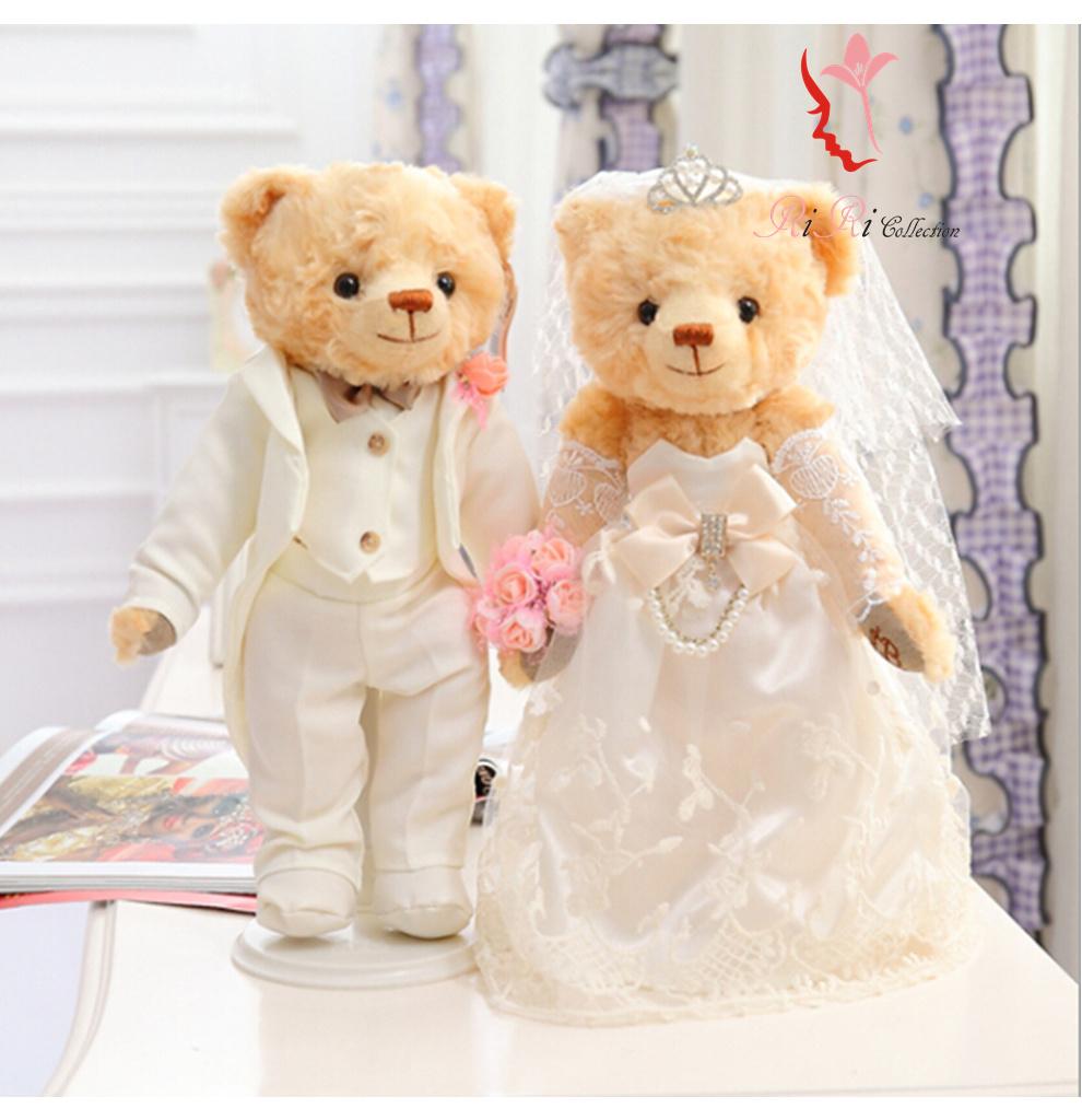 ウェルカムドール・ウェルカムベア  リボン 上品  ぬいぐるみ 熊 ペア 35CM お座りもできます♪ 新郎新婦ペアセット タキシード/ウエディングドレス花嫁/結婚式/披露宴/お祝い/プレゼント