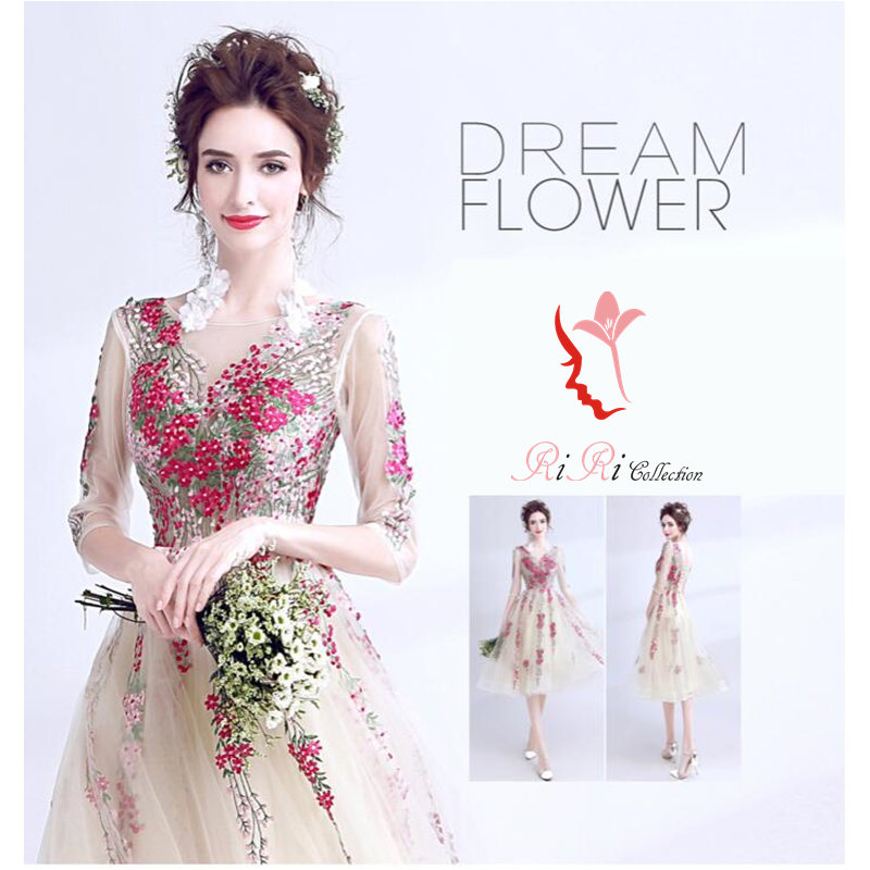 5ac4a565c dress-255 colored racesless refined light gradeless wedding ceremony  banquet embroidery / princess line ...