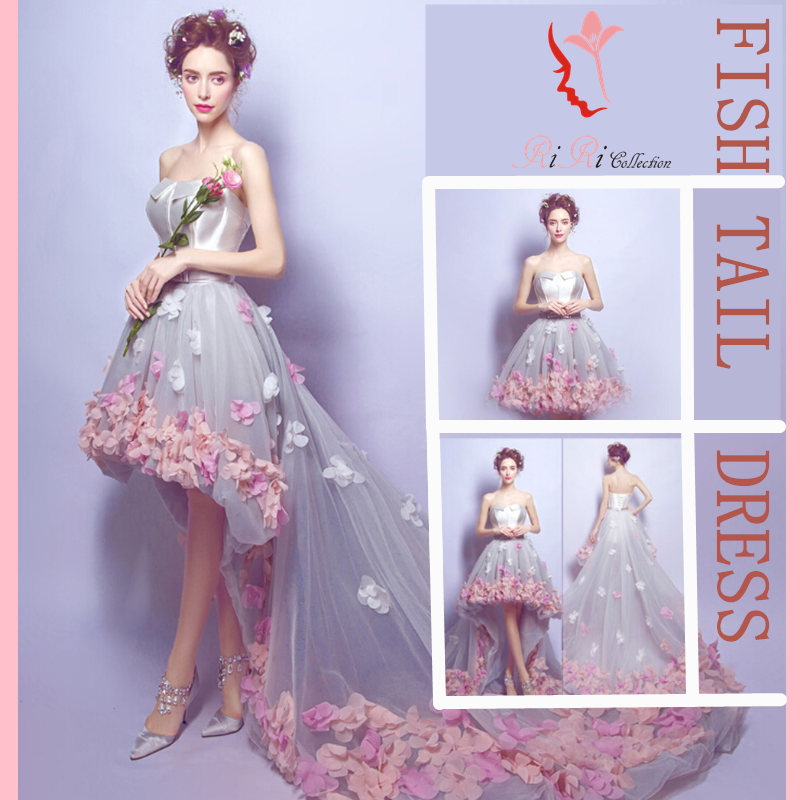 Immediate Delivery Presentation Brides Wedding Dresses Flower Dress Embroidery Strapless Minidress And Two Following