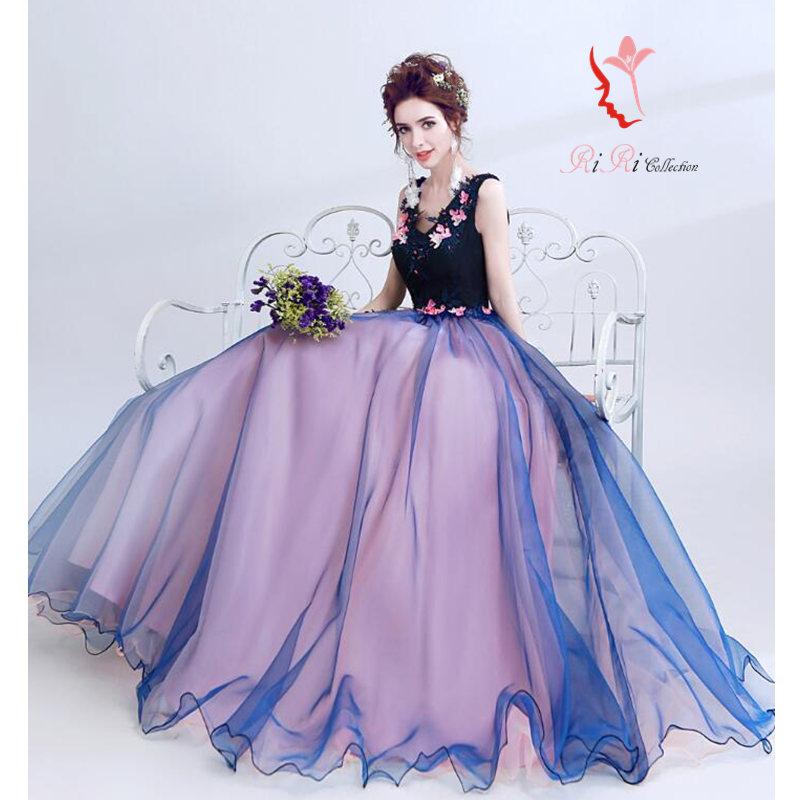 5bd7fc6ff884a 新作 カラードレス ボールドカラー 秋カラー ネイビー ウェディングドレス フラワー 二次会ドレス flower ドレス 結婚
