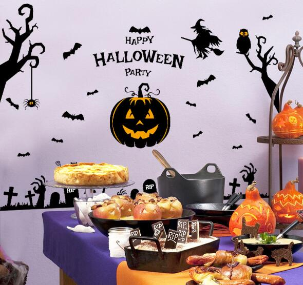 Riricollection Immediate Delivery Correspondence B Wall Sticker Seal Pumpkin Spider Cat Owl Cross Bat Party Goods