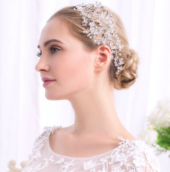Head accessories headdress wedding pearl prize maid wedding refined  accessories pierced earrings stone glitter glass crystal colored racesless  wedding