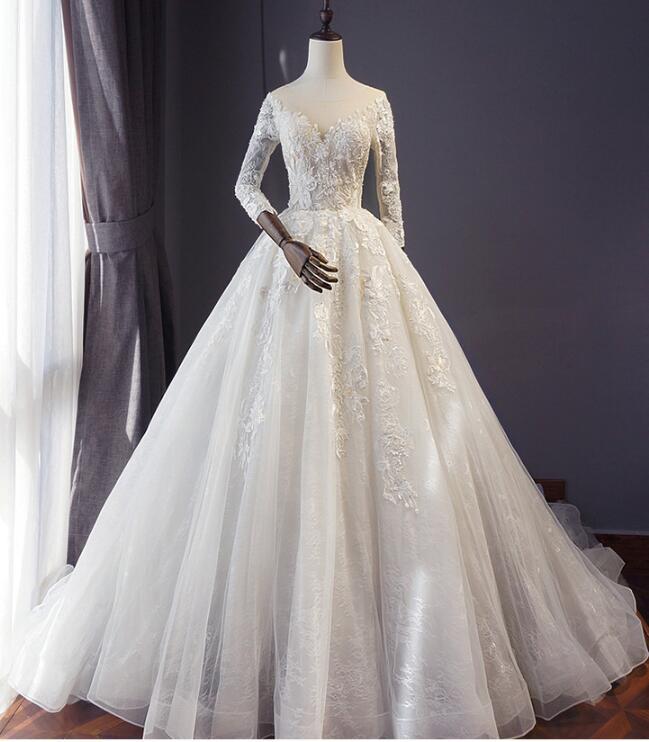 新作 高級 ウエディングドレス Aライン 花柄刺繍 披露宴 結婚式 前撮り 海外結婚 ハワイ  dress-518