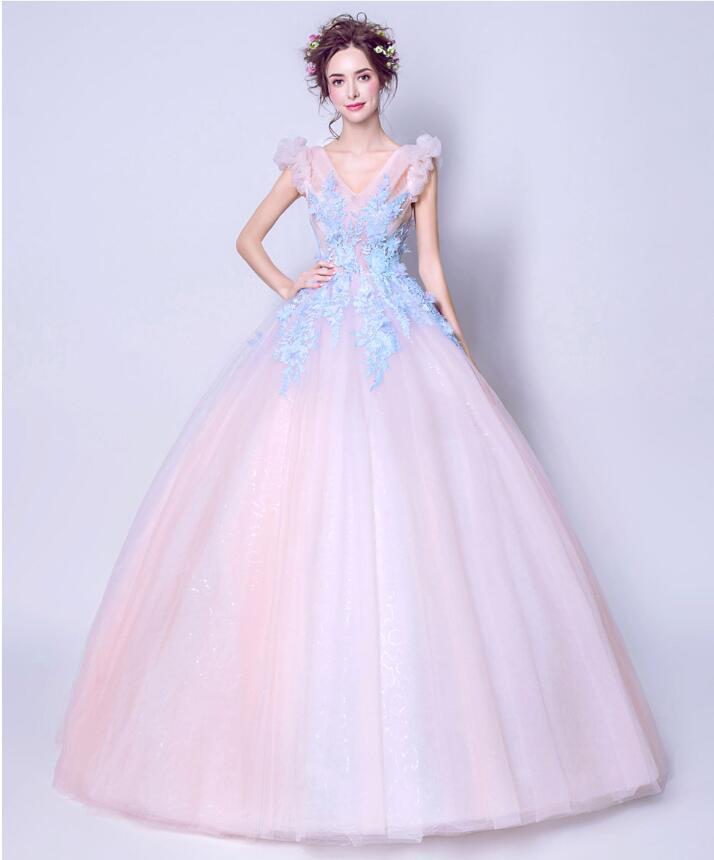 Colored racesless dress-522 light pink blue