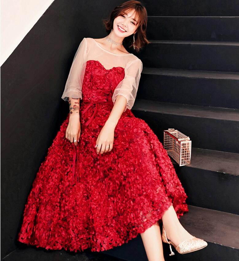 00aa37ca1508e パーティードレス 薔薇 バラ 上品な レッド 赤 RED ドレス 高級 編上げ 結婚式 披露宴 編上げ