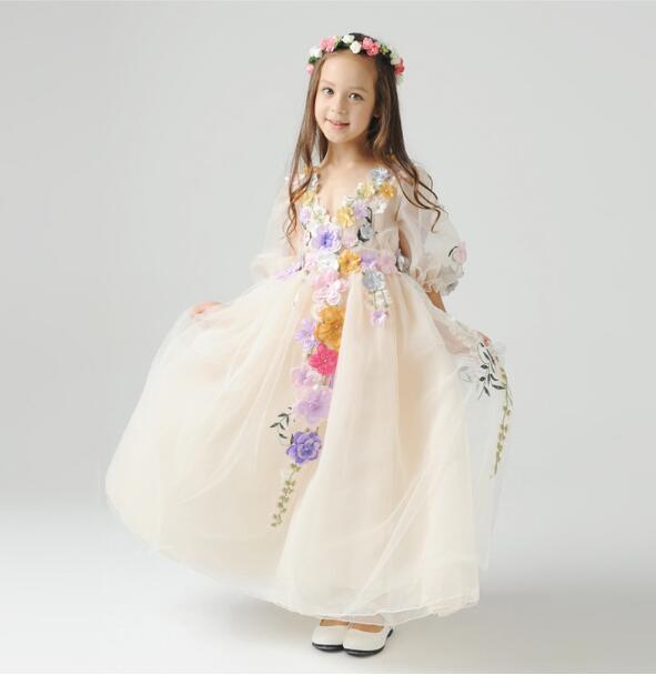 Riricollection Child Dress Kz006 Floral Design Empty Fouldless